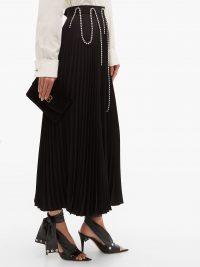 CHRISTOPHER KANE Crystal-embellished black plissé-crepe skirt ~ draped crystals