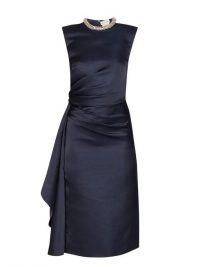 ALEXANDER MCQUEEN Crystal-embellished ruched satin knee-length dress in navy ~ sophisticated evening event wear