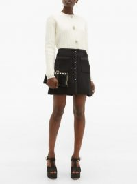 MIU MIU Crystal-embellished satin-trimmed wool-blend skirt in black ~ luxe A-line mini