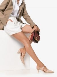 Cult Gaia Nude Liora Strappy Leather Pumps ~ pointed pale pink shoes