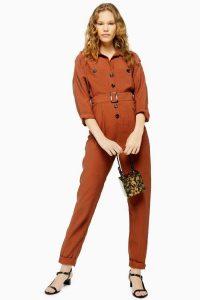 TOPSHOP Cupro Boiler Suit in Rust – brown belted boilersuit