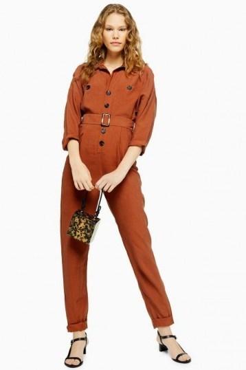TOPSHOP Cupro Boiler Suit in Rust – brown belted boilersuit - flipped