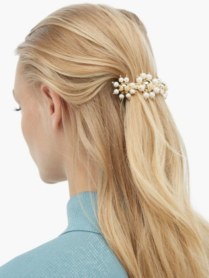 ROSANTICA BY MICHELA PANERO Daisy faux-pearl embellished hair clip | floral hair accessory
