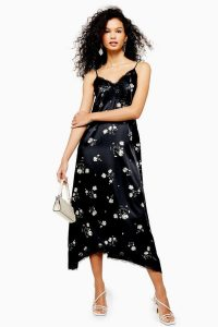 Topshop Daisy Lace Slip Dress in Black | floral cami frock
