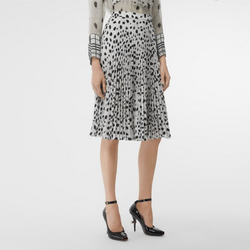 Ivanka Trump black and white polka dot skirt, BURBERRY Dalmatian Print Crepe Pleated Skirt, out in London during a visit to the UK, 4 June 2019 | celebrity skirts | street style