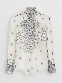 Ivanka Trump black and white dot print neck tie shirt, BURBERRY Dalmatian Print Silk Pussy-bow Blouse, out in London, 4 June 2019 | celebrity blouses | street style fashion