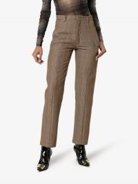 Delada Check Straight-Leg Trousers in Brown