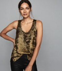 REISS DEMI METALLIC VEST TOP GOLD ~ essential luxe tank