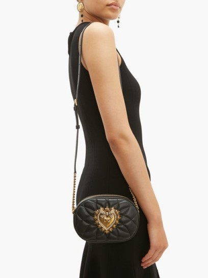 DOLCE & GABBANA Devotion heart-embellished quilted-leather bag in black | small luxe crossbody