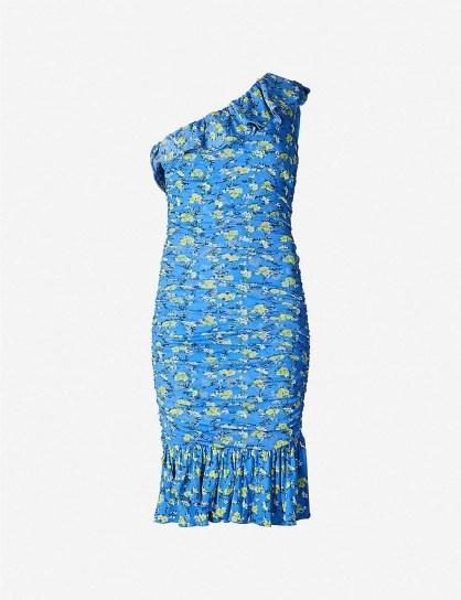 DIANE VON FURSTENBERG Aerin one-shoulder ruched floral-print woven mini dress in ditsy vines baja blue - flipped