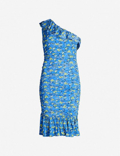 DIANE VON FURSTENBERG Aerin one-shoulder ruched floral-print woven mini dress in ditsy vines baja blue