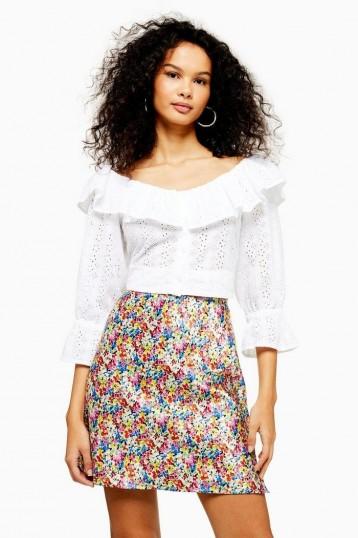 TOPSHOP Ditsy Floral Bias Mini Skirt