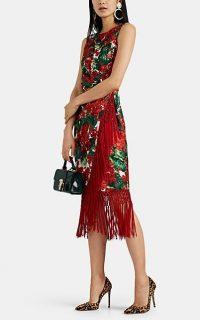 DOLCE & GABBANA Fringe-Trimmed Floral Silk-Blend Midi-Dress / red designer dresses