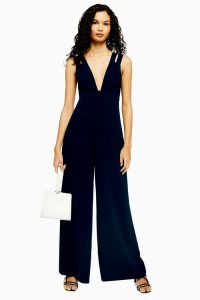 Topshop Double Strap V-Neck Jumpsuit in Navy | plunge front evening jumpsuits
