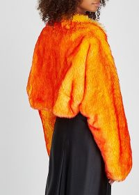 DRIES VAN NOTEN Gilda yellow and red faux fur shrug | bright evening jacket