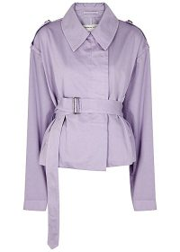 DRIES VAN NOTEN Verse lilac belted cotton jacket | oversized military style jackets
