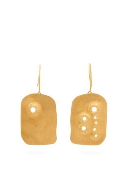 JIL SANDER Drilled pendant earrings | modern gold-tone jewellery - flipped