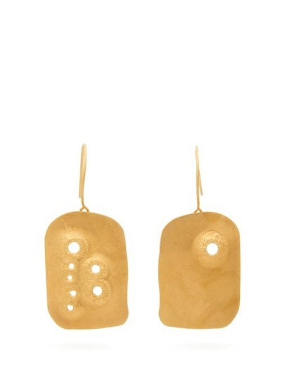 JIL SANDER Drilled pendant earrings | modern gold-tone jewellery