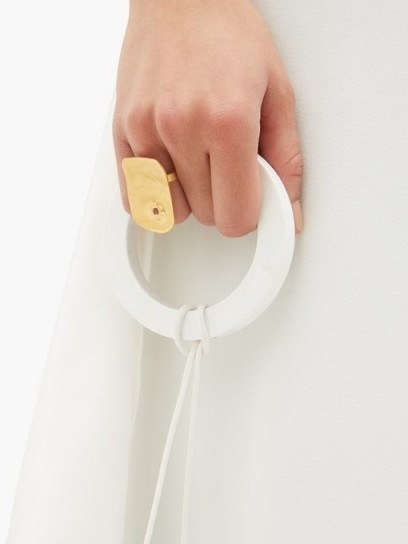 JIL SANDER Drilled squared brass ring | contemporary statement rings - flipped