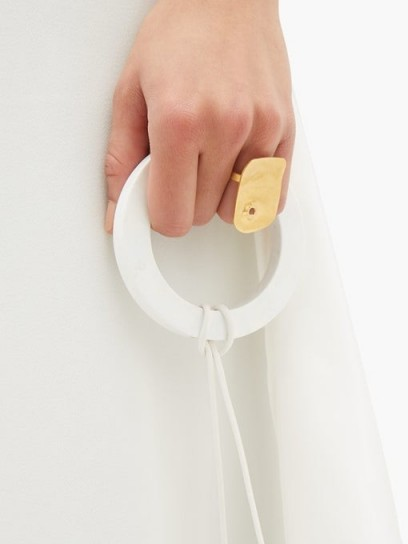 JIL SANDER Drilled squared brass ring | contemporary statement rings