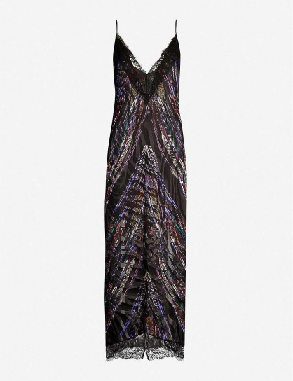 DUNDAS Lace-trimmed feather-print satin midi dress in black | thin strap plunge front dresses