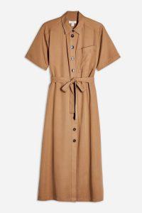 TOPSHOP Editor Shirt Dress in Camel – brown tie waist dresses