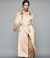 REISS EMMIE SATIN LONGLINE MAC PEARL ~ chic belted coat
