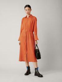 Joseph Evie Micro Floral Dress in Carrot ~ orange drawstring waist dresses