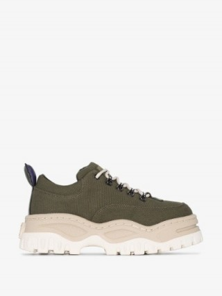 Eytys Green Angel Chunky Flatform Canvas Sneakers ~ sports luxe trainers