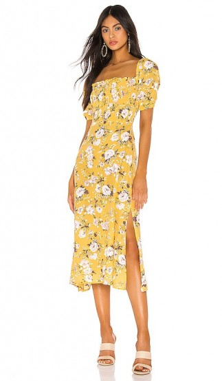 FAITHFULL THE BRAND Majorelle Dress Jasmin Yellow Pomeline Floral – smocked bodice and leg split