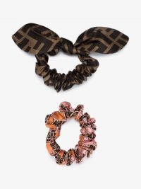 Fendi Multicolour Printed Silk Scrunchies Set | designer logo hair accessories