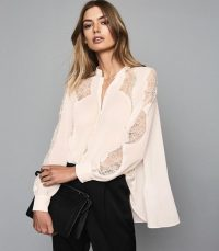 REISS FIANNA LACE DETAILED SEMI SHEER BLOUSE NUDE ~ luxe blouses