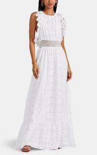 FIVESEVENTYFIVE Ruffled Cotton Eyelet Maxi Dress in White ~ effortless feminine style