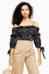 TOPSHOP Floral Print Bardot Blouse Black