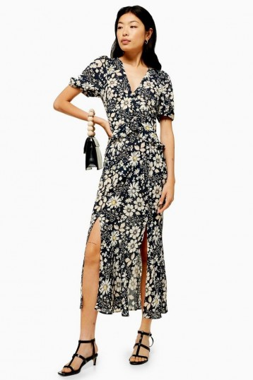 TOPSHOP Floral Print Ruffle Midi Dress in Navy Blue / double front split summer dresses