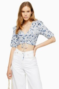 TOPSHOP Floral Ruched Crop Top Blue