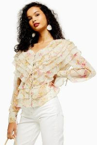 Topshop Floral Ruffle Layered Top in Ivory | frothy blouse
