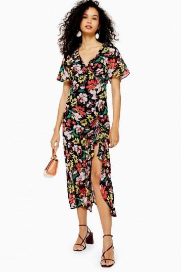 TOPSHOP Floral V Neck Angel Sleeve Dress Black
