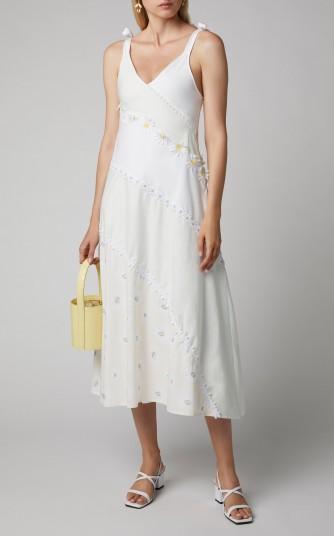 Solid & Striped Floral-Appliquéd Cotton-Poplin Midi Dress ~ pretty sundresses