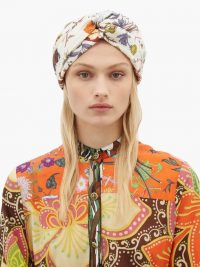 GUCCI Floral-print white silk-twill headband | statement headbands