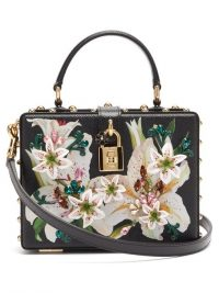DOLCE & GABBANA Flower and crystal-embellished black leather box bag