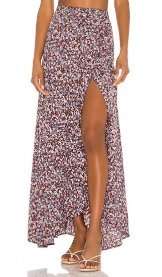 FLYNN SKYE Wrap It Up Skirt in Black Floral / front split maxi skirts