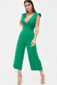 LAVISH ALICE folded front ruffle back culotte leg jumpsuit in emerald green ~ plunge front and cropped leg jumpsuits