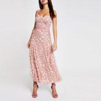 Forever Unique light pink textured maxi dress ~ skinny strap summer event dresses