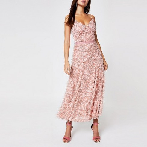 Forever Unique light pink textured maxi dress ~ skinny strap summer event dresses - flipped