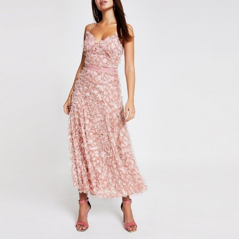 Forever Unique light pink textured maxi dress ~ skinny strap summer event dresses