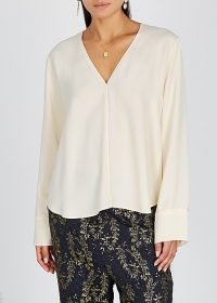 FORTE_FORTE Ivory satin-trimmed blouse | simple luxe blouses