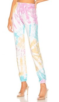 Frankie B Kendall Crystals Stripe High Rise Sweatpant in Tie Dye / luxe sweatpants