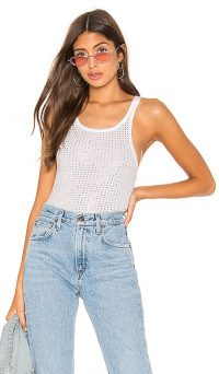 Frankie B Sade Crystals Cropped Tank in White / shimmering vest top