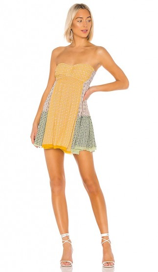 Free People Across The Sea Tunic Yellow – mixed print bandeau fit and flare
